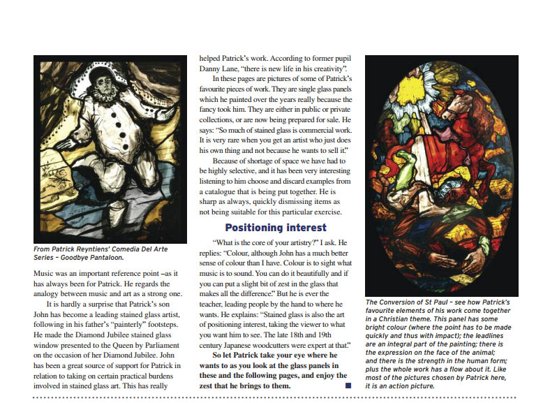 a sneek peek at the article in the Worshipful Company of Glaziers and Glass Painters' newsletter, by Richard Blausten