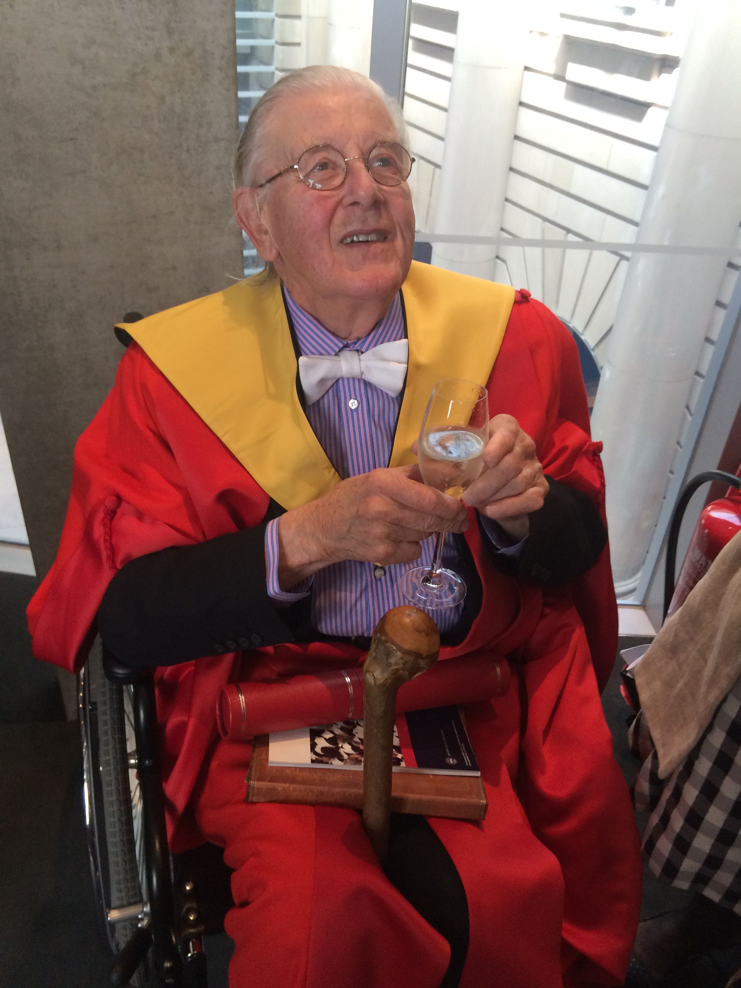 Patrick Reyntiens celebrating his doctorate from Edinburgh University on June 27th 2015